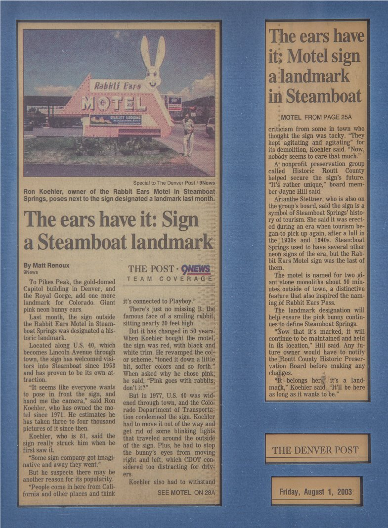DENVER POST 8 1 2003 The ears havit Sign a Steamboat Landmark ARTICLE - History